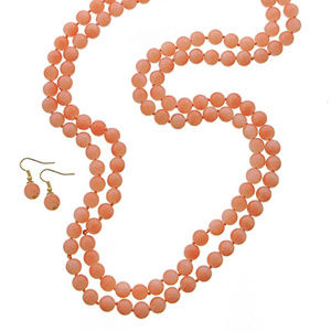 Peach Galls Bead Long Necklace Eraring Set